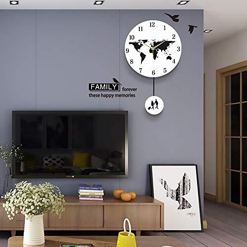 YH Weltkarte Schwingen Reisenden Mute Wanduhr Uhr Kreative Wohnzimmer Schlafzimmer Wanddekoration Uhr Art Und Weise Einfache Persönlichkeit 44 * 29cm