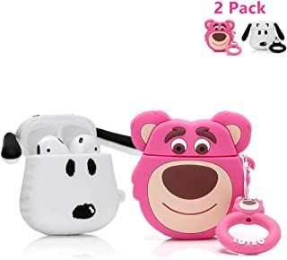 ZAHIUS Airpods Silicone Case Cool Cover Compatible for Apple Airpods 1&2 [Cartoon Series][Designed for Kids Girl and Boys](2Pack Strawberry Bear&Snoopy)