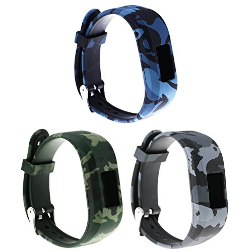 ECSEM Replacement Bands and Straps Compatible with Garmin Vivofit JR Vivofit JR.2 Vivofit 3 Band Large, with Secure Clasps [3pcs Floral Pattern Bands] Navy/Army/Air Force
