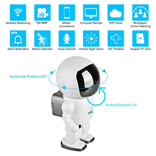 HD Wireless Robot IP Camera,FEISIER 960P Security Camera 1.3MP CMOS Baby Monitor Pan Tilt Remote Home Security P2P IR Night Vision for Mobile Android/iOS and Laptop (White)