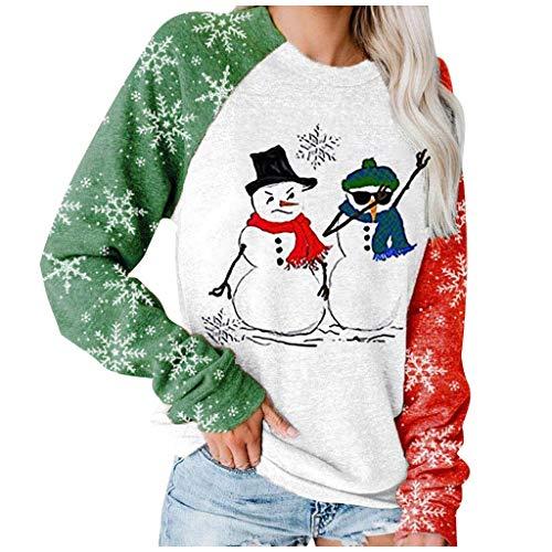 Sudadera con Capucha Sudadera de Empalme,Navidad Tamaño Extra Grande para Mujer Sudadera con Estampado de Estrellas Manga Larga Suelto Jersey Tops riou