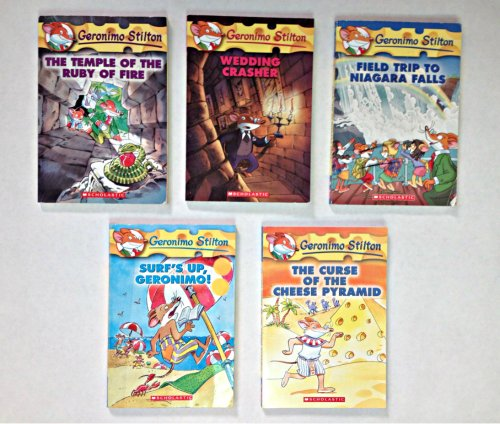 Geronimo Stilton 5 Book Set: The Temple of the Ruby of Fire, Wedding Crasher, Field Trip to Niagara Falls, Surf's Up, Geronimo! The Curse of the Cheese Pyramid
