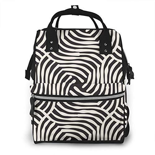 HleHjum Mochila para pañales de bebé, gran capacidad, mochila para mami, bolsa para pañales a rayas (2) (1)