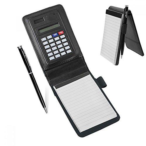 A7 PU Leder Notizbuch Notizblock Notebook Handlich klemmbrett Schreibmappe Konferenzmappe mit Taschenrechner Schreibblock