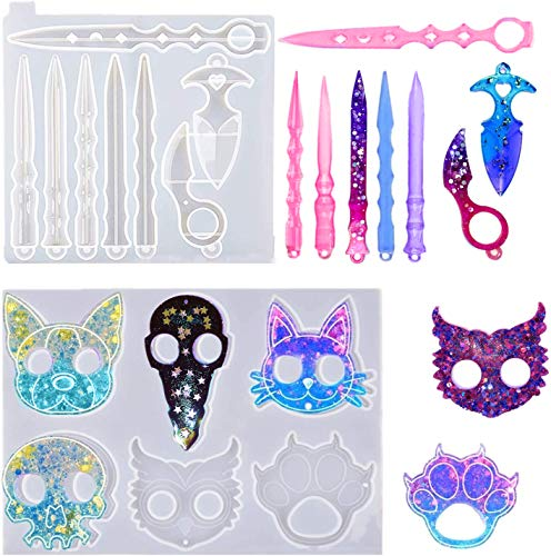 Tino Kino 2 Pcs Self Defense Keychain Resin Mold Animal Finger Keychain Epoxy Silicone Molds for Crafts Jewelry Making Tools