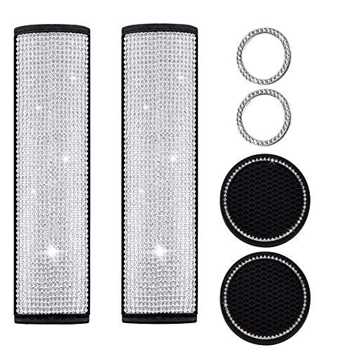olyee 2 Pieces Univeral Crystal Bling Leather Car Seat Belt Shoulder Pads, Rhinestones Car Bling Seat Belt Covers, Bling Car Cup Coaster, Key Start Ring, Bling Car Accessories for Women Men