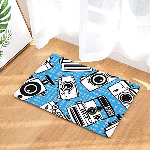 Nunubee Cartoon Camera Pattern Flannel Non Slip Entrance Rug Doormats Soft Carpets Rugs Patio Kitchen Home Indoor Outdoor Bedroom Carpet 16x24 Inch / 40x60 cm - No.5