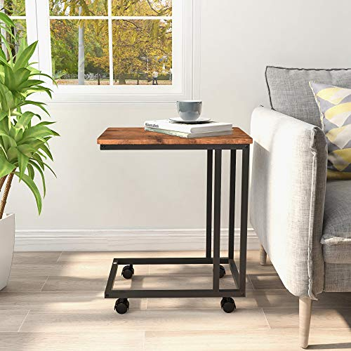 BOFENG Side Table Mobile Coffee Table Heavy Duty Iron Snack Tables End Desk with Wheels Look Accent Black Metal Frame C Tables, Black+Brown oak