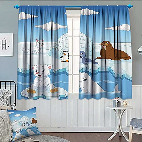 """Kids Decor Thermal/Room Darkening Window Curtains Image of Arctics Animals Polar Bears Seal Penguins Wolfs Whales Artwork Decor Curtains by 72""""x63"""" Sky Blue and White"""