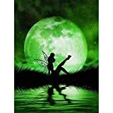 DIY 5D Diamond Painting by Number Kits for Adult,Full Drill Embroidery Cross Stitch Arts Craft Wall Decor Green Spirit Under The Moon 11.8x15.7Inch