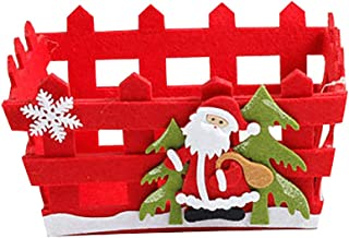 Aland Christmas Santa Claus Snowman Non-Woven Candy Fruit Storage Basket Decoration Christmas Candy Basket Ornament Xmas Apple Gift Basket Santa Claus#