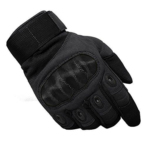 TACVASEN Taktische Handschuhe Winter Motorrad Handschuhe Herren Vollfinger Army Gloves Biking Ski Handschuhe (Schwarz, M)