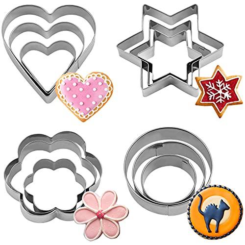 Moldes de Galletas,12 Piezas Juego de cortadores de galletas de acero inoxidable Herramientas para hornear para decoración de pasteles y Fondant (12Pcs Geometric)