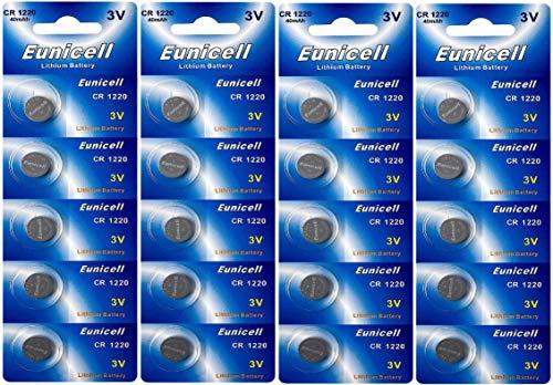 Eunicell 20 x CR1220 3V Lithium Knopfzelle (5 Blistercards a 4 Batterien) EINWEG Markenware