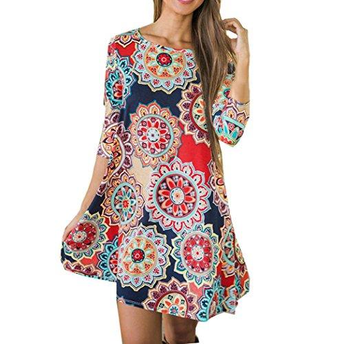 TUDUZ Frauen Sommer Vintage Boho Maxi Abend Party Kleid Elegant Strand Große Größen Blumenkleid (Mehrfarbig, XXL)