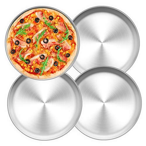 TEAMFAR Pizzablech 4er-Set, Edelstahl Rund Pizzaform Pizza Backblech zum Backen im Ofen, ∅ 26 cm, Gesund & Langlebig, Leicht zu reinigen & Spülmaschinengeeignet