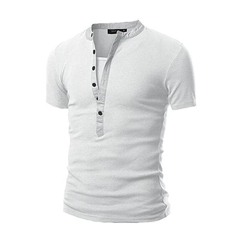 WM & MW Personality Men's Summer Casual Solid Patchwork V-Neck Short Sleeve Henley Shirt T-Shirt Top Blouse