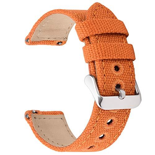 Fullmosa 8 Colores para Correa de Reloj de Lona de Liberación Rápida, Correa de Reloj Militar 14 mm 16 mm 18 mm 20 mm 22 mm 24 mm Pulseras de Reloj de Repuesto para Hombres Mujeres, 16mm Naranja