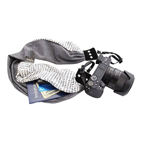 Capturing Couture Scarf Camera Strap with Hidden Zipper Pocket, KylaSasha - Stylish, Comfortable, & Soft on Neck or Shoulder for Photographers, DSLR or Mirrorless, Pocket Will Hold Newest Smartphone