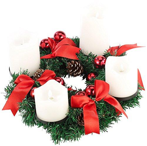 Britesta Advent Deko Kränze: Adventskranz, rot, 4 weiße LED-Kerzen mit bewegter Flamme (Adventskränze mit LED-Beleuchtung)