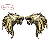 UpAuto 2pcs Cool Wolf Head Car Side/Rear/Front Decorations Badge Emblem 3D Self-Adhesive Nameplate Sticker for Car (Golden)