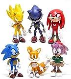 XBT Figuras sónicas 6 unids/Set Juguetes de PVC Figura de acción Sonic Shadow Tails Personajes estatuilla Juguetes para niños Animales Juguetes Conjunto