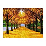 BVFRA Cuadros para Pintar por Numeros, DIY Adult Paint by Numbers Kits, Paint by Numbers with Frame,Romantic Golden Forest-16X20 Inch For Home Decoration Paint by Number,DIY Frame