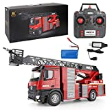 WGFGXQ 1:14 RC Fire Truck, RC Fire Truck Toy para niños, Remote Water Spray 2.4Ghz Remote Control Fire Ladder Truck con Luces de Alarma contra Incendios y Sirena -