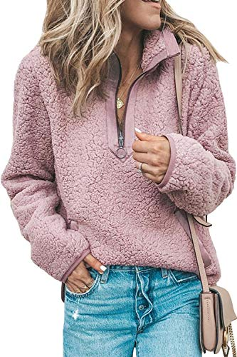 Les umes Womens Fuzzy Fleece Sherpa Sweatshirts Stand Collar Zipper Pullover Coat Outwear Tops with Pockets