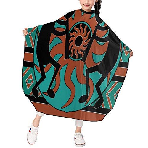 Delantal de corte de pelo para niños y niños, diseño de flauta india americana, impermeable para corte de pelo, para peinar y peinar