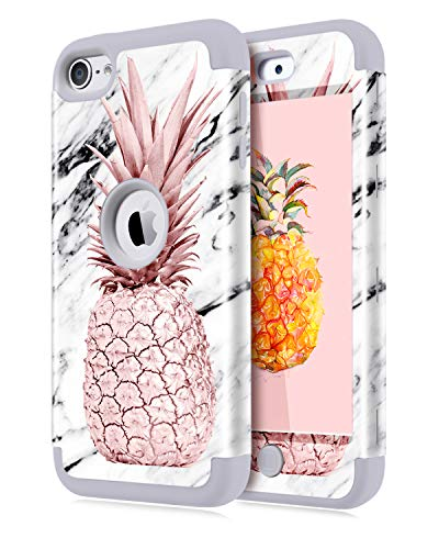 Dailylux iPod Touch 5 Case,iPod Touch 6 Case,iPod Touch 7 Case,3in1 Hybrid Impact Resistant Shockproof Case Soft Silicone Protective Cover for Apple iPod Touch 5/6/7th Generation Marble Pineapple Grey