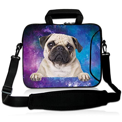 """Violet Mist 13""""15""""15.6""""Neoprene Laptop Sleeve Bag Waterproof Sleeve Case Briefcase Pouch Bag Adjustable Shoulder Strap External Pocket for Men Women(14' 15'-15.6',Galaxy Pug)"""