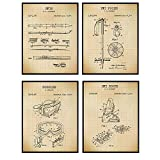 Skiing Patent Prints - Vintage Ski Wall Art Poster Set - Chic Rustic Home Decor for Kids, Boys, Girls or Teens Room, Rec or Family Room, Man Cave, Living Room - Gift for Skiers - 8x10 Unframed Photos