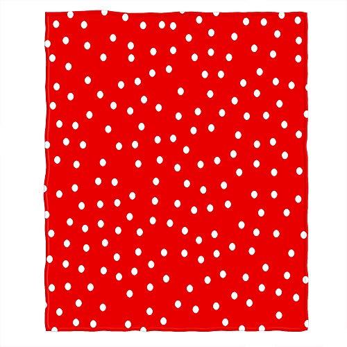 Bloong Gepunktete Decken, 101,6 x 127,7 cm, weiße Punkte, Kreise, rote Kritzeleien, Winter-Überwurf, Decke, flauschige Flanell, Picknick-Decke, Zuhause für Sofa, Haustier, Hund, Katze