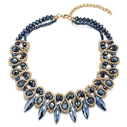 iMECTALII Marquise Kristall Statement Anhänger Blau Perlen Kette Halsband Choker Geflochtene Kette Halsketten, Zwei-Schichten