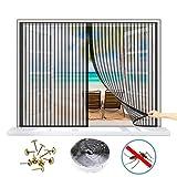 WISKEO Fliegengitter Magnet Fenster Verschiedene Größen Moskitonetz Gross Anti-Moskito Insektenschutzgitter Innen Klettband Schiebe Dach Tür - Schwarz 90x110 cm(WxH)
