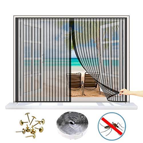 WISKEO Fliegengitter Magnet Fenster Verschiedene Größen Moskitoschutz Magnetvorhang Anti-Moskito Insektenschutzgitter Innen Klebmontage Schiebe Dach Tür - Schwarz 140x130 cm(WxH)