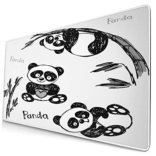 """Extra Large Gaming Mouse Pad with Stitched Edges,Cheerful Panda Different Poses with Bamboo,Non-Slip Rubber Base Computer Keyboard Mat,29.5"""" x 15.8"""""""