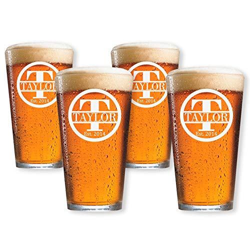 Personalized Beer Glass, Customized Pint Glass, Set of 4 Housewarming Gifts, Wedding Favors, (Pint 16oz.)