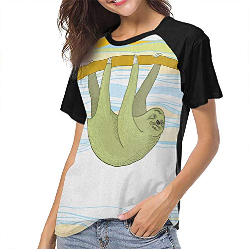 Sloth Women's Baseball Short Sleeves Flexible Slim-fit Teens