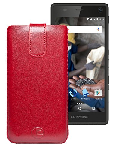Favory Tasche Leder Etui / Fairphone 2 / ECHT Ledertasche Hülle Schutzhülle (Lasche mit Rückzugfunktion) rot