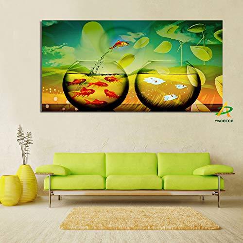 ZWBBO kunstdruk, op canvas, grote vis en tank, canvas, kunstdruk, schilderijen