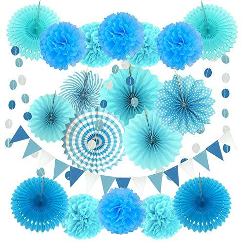 Xnuoyo 20 Stück Seidenpapier Blumen Pompoms Set, Seidenpapier Pompons Blume Fächer, Party Deko Geburtstag Papier Pompoms Fächer Wabenbälle Girlanden für Mexikanische Hochzeit Weihnachten(Blau)