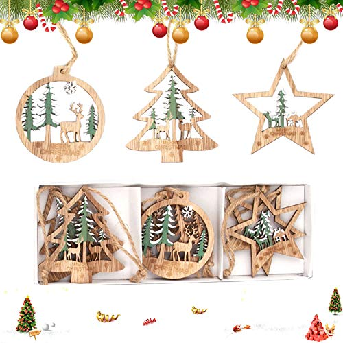 Sunshine smile 6 Stück Kleine Anhänger Holz Weihnachten mit 2Pcs 3 Fächer Aufbewahrungs,Setzbord Anhänger Dekoration Holz,Weihnachtsbaum Deko Holz,weihnachtsdeko basteln,Holz Weihnachtsdeko Anhänger