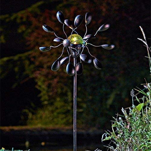 garden mile Decorative Solar Powered Light Up Garden Wind Spinners With Colour Changing LED Lights Metal Garden Sculptures Stunning Garden Ornaments Decoration