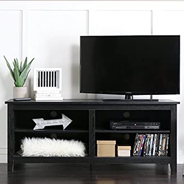 WE 58  Wood TV Stand Storage Console, Black