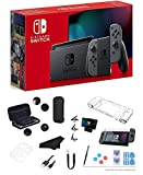 Newest Nintendo Switch 32GB Console with Gray Joy-Con, 6.2' Multi-Touch 1280x720 Display, WiFi, Bluetooth, HDMI and GalliumPi 12-in-1 Bundle