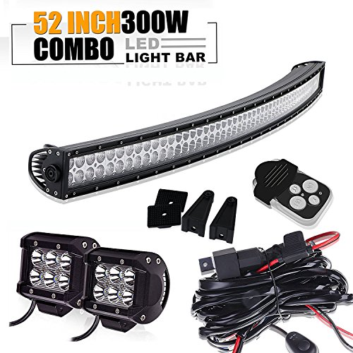 300w 52in curvado spot flood barra led...