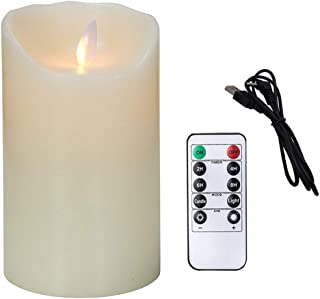 Flameless Candles Electric with Rechargeable Battery (Autbye 2019 Advanced Edition) Extra Bright Ivory Dripless Real Wax Pillars LED Smart Candle Flickering 10-Key Remote Control (1 Pack 13CM/5in)
