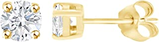 IGI Certified Lab Grown Diamond Stud Earrings In 10k Solid Gold (1/3-1/2 cttw, Faint Blue Color, SI2-I1 Clarity)